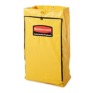 """Rubbermaid FG618300 Vinyl Replacement Bag with Zipper for Cleaning Cart, 17.25"""" Length, 10.50"""" Width, 30.50"""" Height, Yellow"""