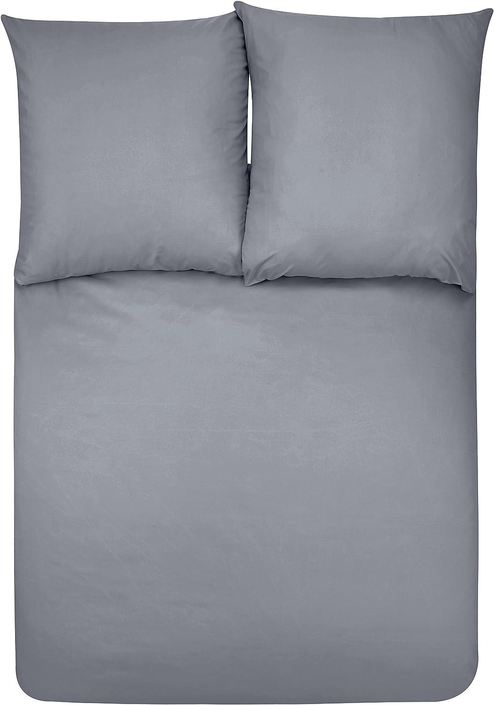 Basics Parure de lit avec housse de couette en microfibre Gris fonc/é 200 x 200 cm
