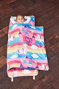 EVERYDAY KIDS Toddler Nap Mat with Removable Pillow - Unicorn Dreams - Carry Handle with Straps Closure, Rollup Design, Soft Microfiber for Preschool, Daycare, Travel Sleeping Bag - Ages 3-6 Years