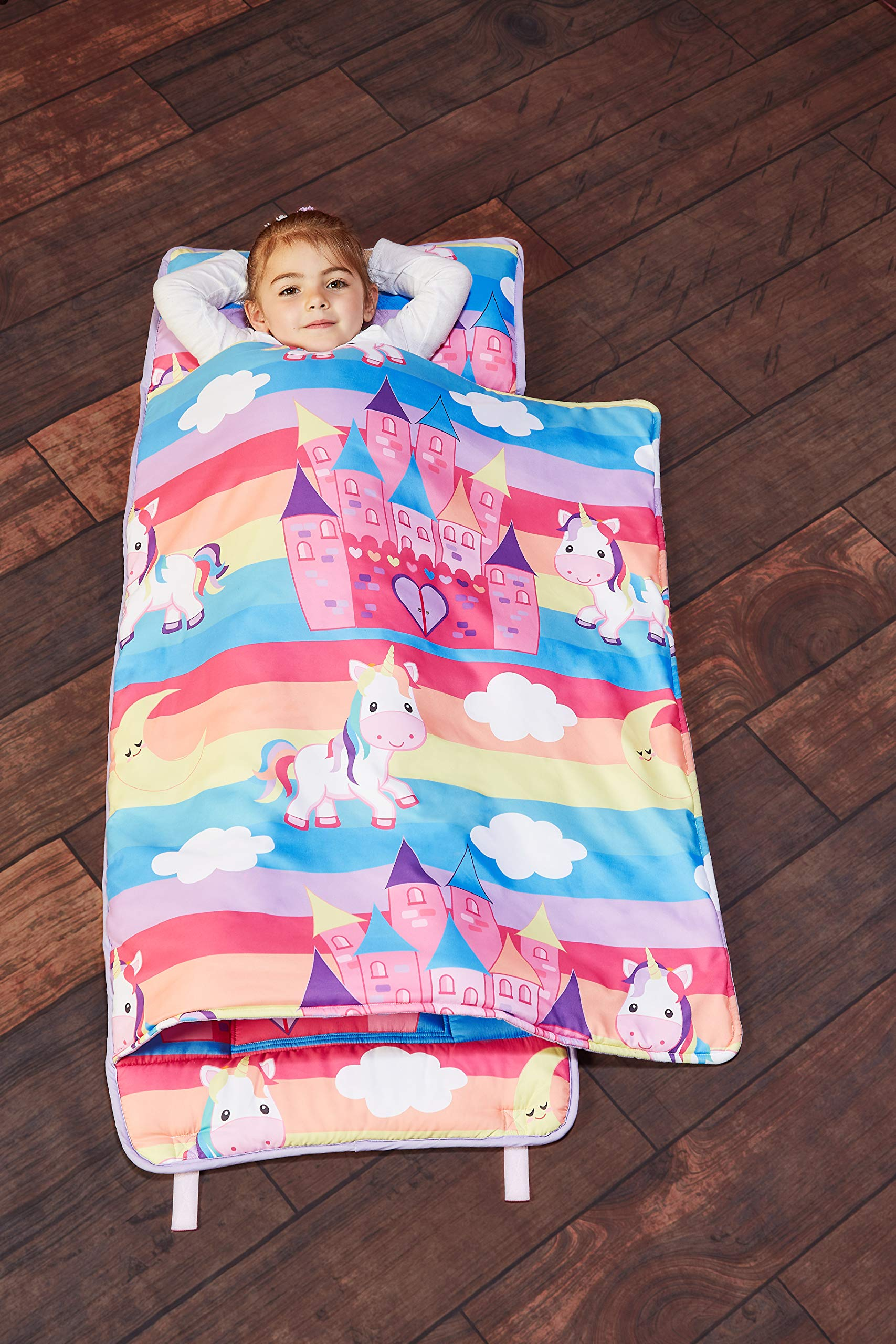 EVERYDAY KIDS Toddler Nap Mat with Removable Pillow - Unicorn Dreams - Carry Handle with Straps Closure, Rollup Design, Soft Microfiber for Preschool, Daycare, Travel Sleeping Bag - Ages 3-6 Years by EVERYDAY KIDS