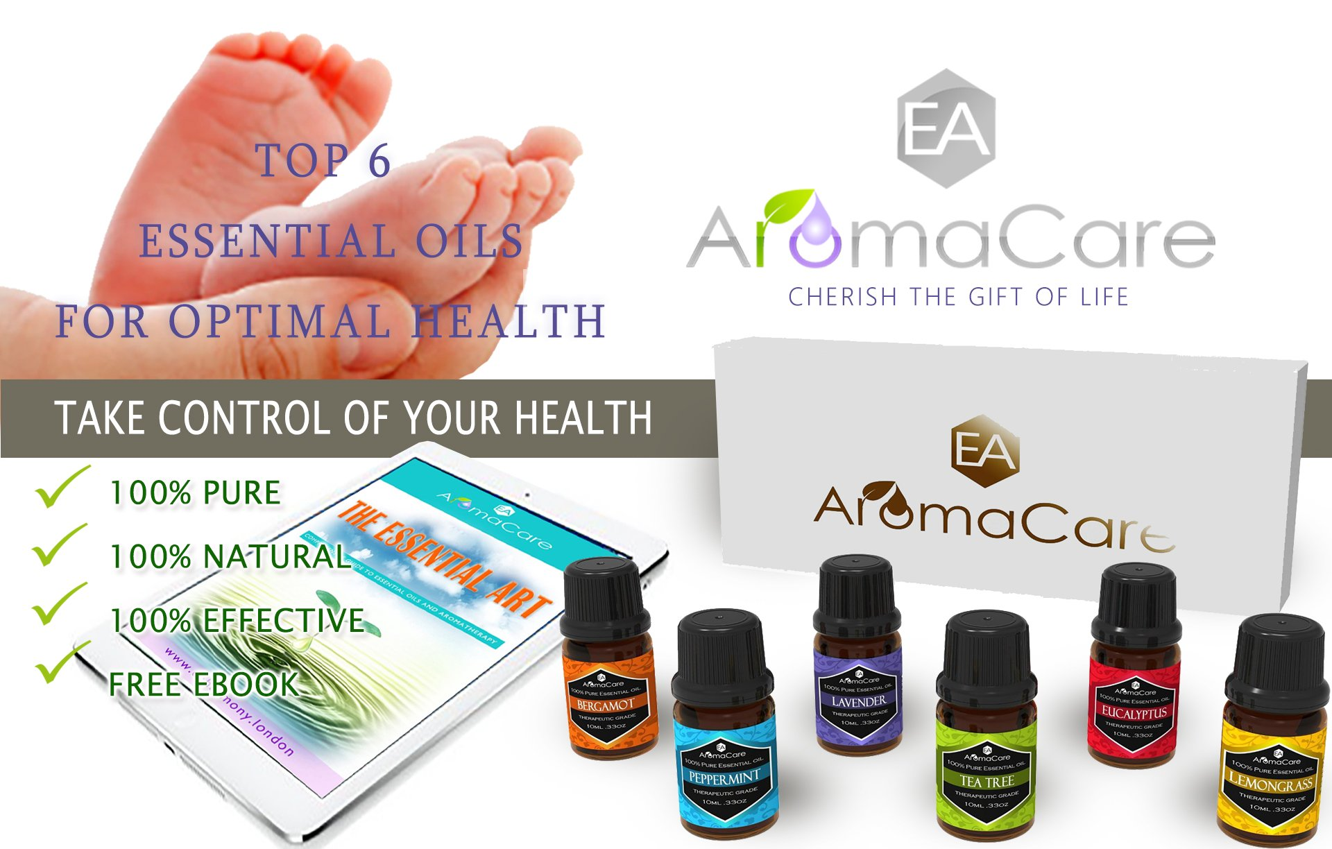Aromatherapy Essential Oils Gift Set in a EXCLUSIVE WHITE BOX (Lavender, Peppermint, Lemongrass, TeaTree, Eucalyptus, Bergamot) FREE Essential Oil Pendant and ebook by EA AromaCare (Image #2)