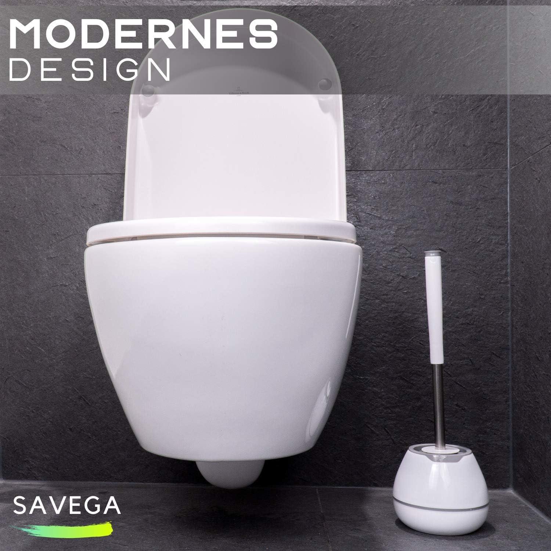 Hygienische Klob/ürste aus Silikon Hochwertige Toilettenb/ürste mit Microfasertuch wei/ß Eleganter Klob/ürstenhalter rund grau WC-B/ürste mit Halter SAVEGA Das Original