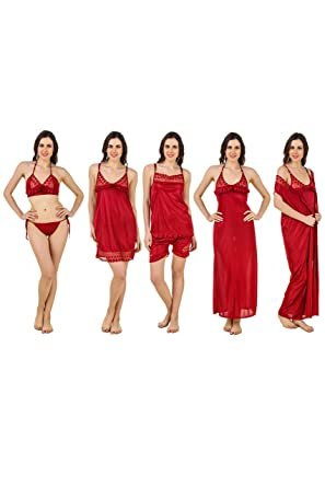 99ba22a2ff Freely Women s Satin Nightdress with Robe (DN-7PCSNS-13
