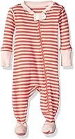 Burt's Bees Baby Baby Girls' Soft Organic GOTS Certified Stripe Zip Front Non-Slip Footed Sleeper Pajamas (Newborn - 24 Months)