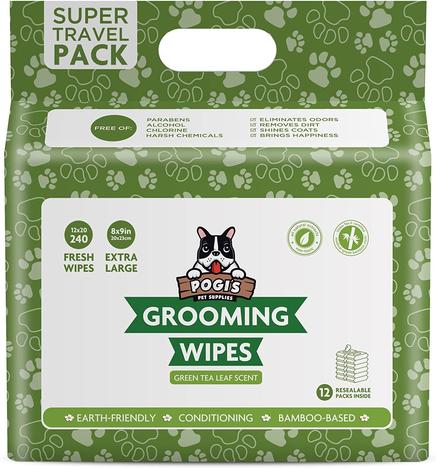 Green Tea Leaf Scented 240-Count Travel Pack Biodegradable Pogis Grooming Wipes Deodorising Wipes for Dogs /& Cats