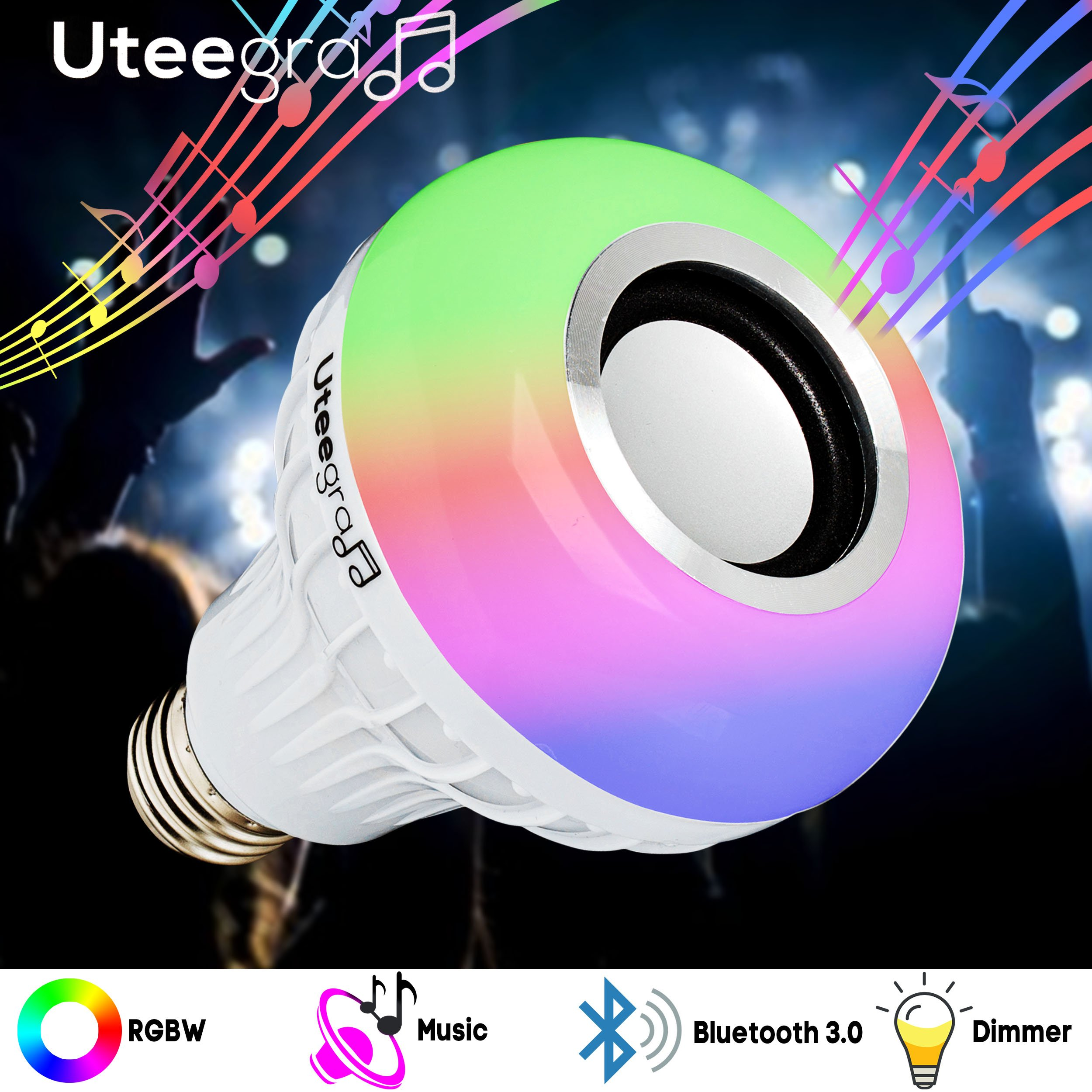 Light E26 LED Music Bulb with Bluetooth Speaker, RGB Changing Color Smart Wireless Lamp for Home, Bedroom, Living Room, Party Decoratio