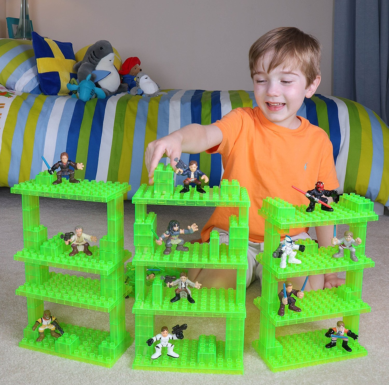 Building Bricks /& Baseplates Strictly Briks Classic Big Briks 96 Piece Set 100/% Compatible with All Major Brands Clear Green Ages 3+ Large Pegs for Toddlers Tower Construction