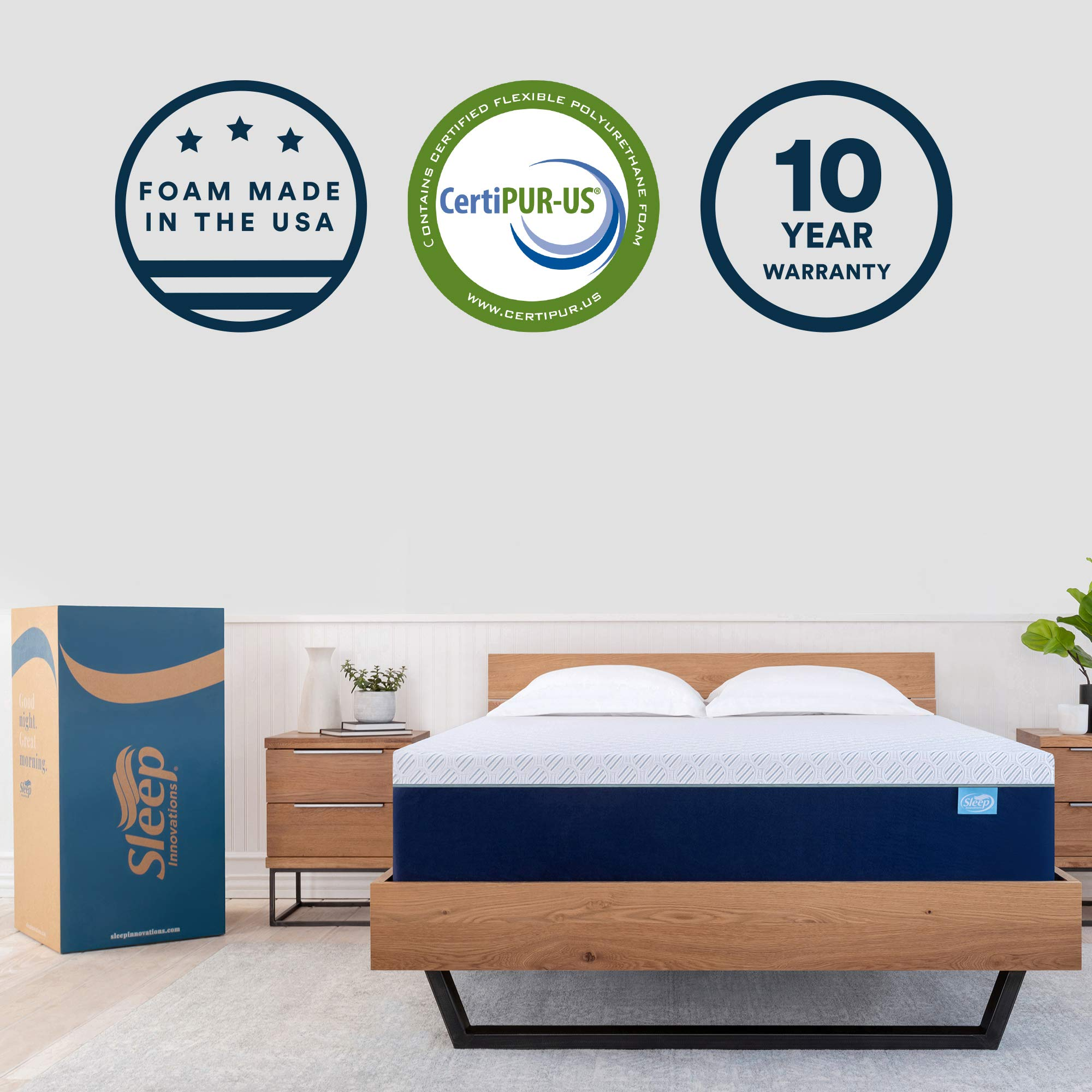 Sleep Innovations Shiloh 14-inch Memory Foam Mattress, Bed in A Box, Soft Cover Made in the USA, 10-Year Warranty, King, White by Sleep Innovations