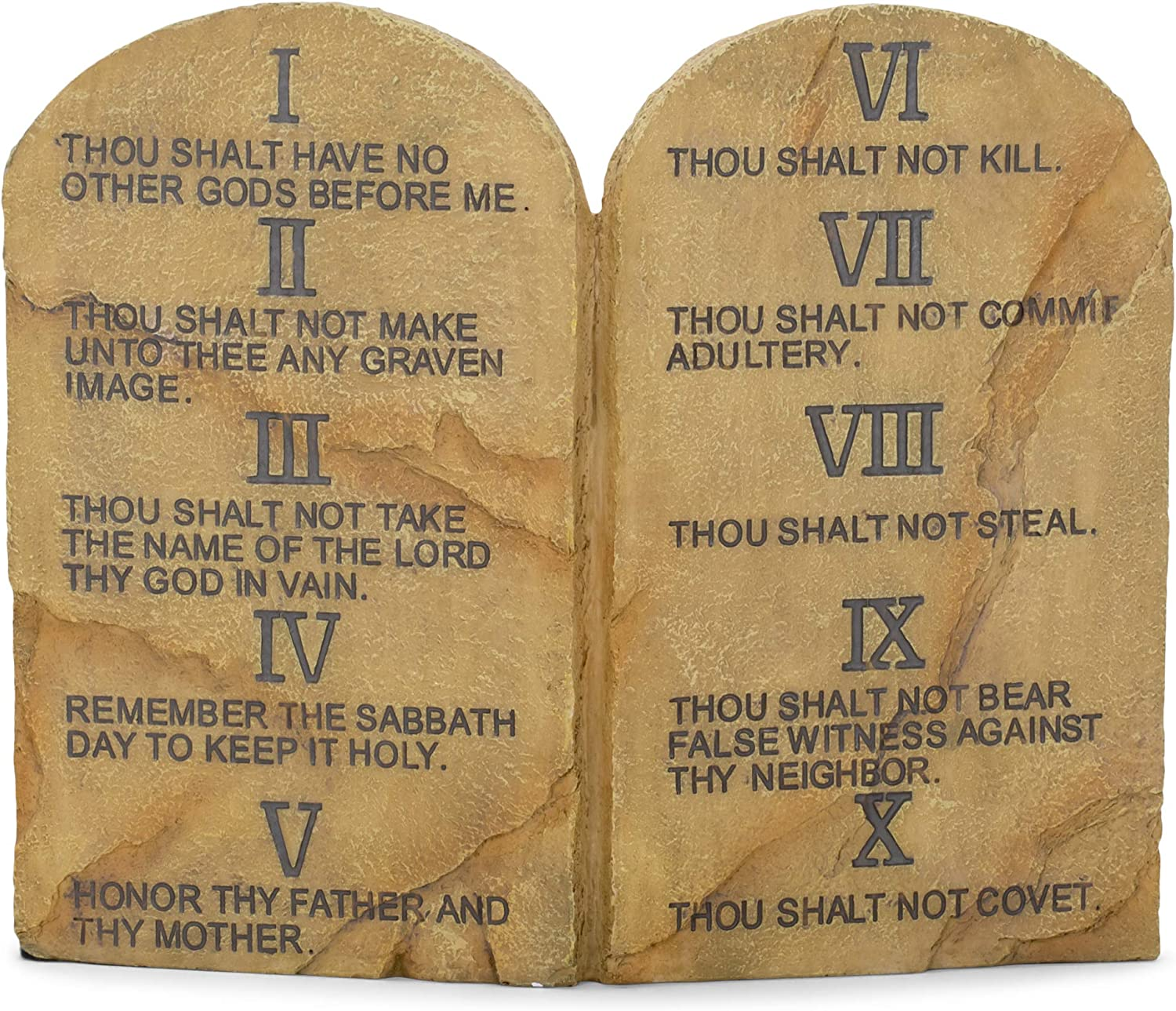 Amazon Com Dicksons Ten Commandments Resin Stone 11 X 9 Wall Or Tabletop Plaque Home Kitchen
