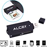 Alcey Portable all-in-one USB Smart Card Reader, Supporting many intelligent cards and memory cards including SD, Micro SD, MMC, M2, MS, SIM Cards ect.