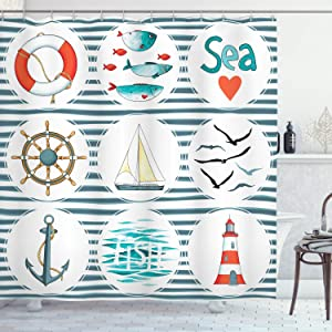Ambesonne Nautical Shower Curtain, Sea Set Fishes Life Gulls Lighthouse Marine Inspired Maritime Theme, Cloth Fabric Bathroom Decor Set with Hooks, 84