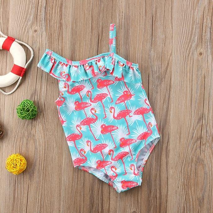 7275b782bc5e5 Amazon.com: Honganda Kids Toddler Baby Girl One Piece Swimsuit Flamingo  Swimwear Ruffle Bathing Suit: Clothing