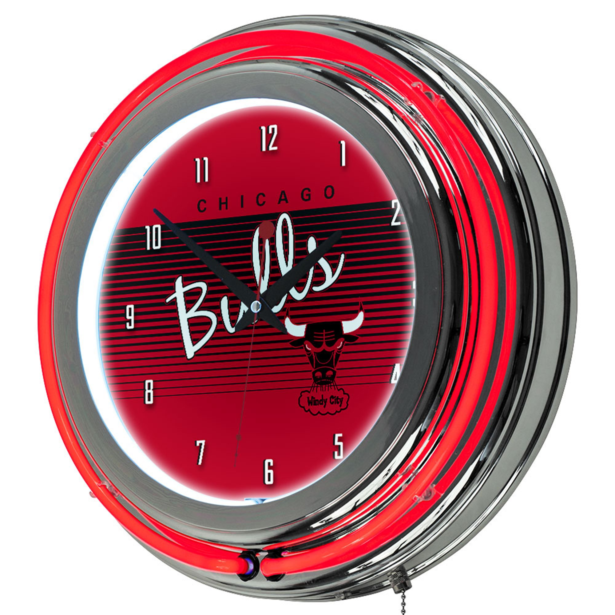 NBA Chicago Bulls Chrome Neon Clock, One Size, Chrome by Trademark Global