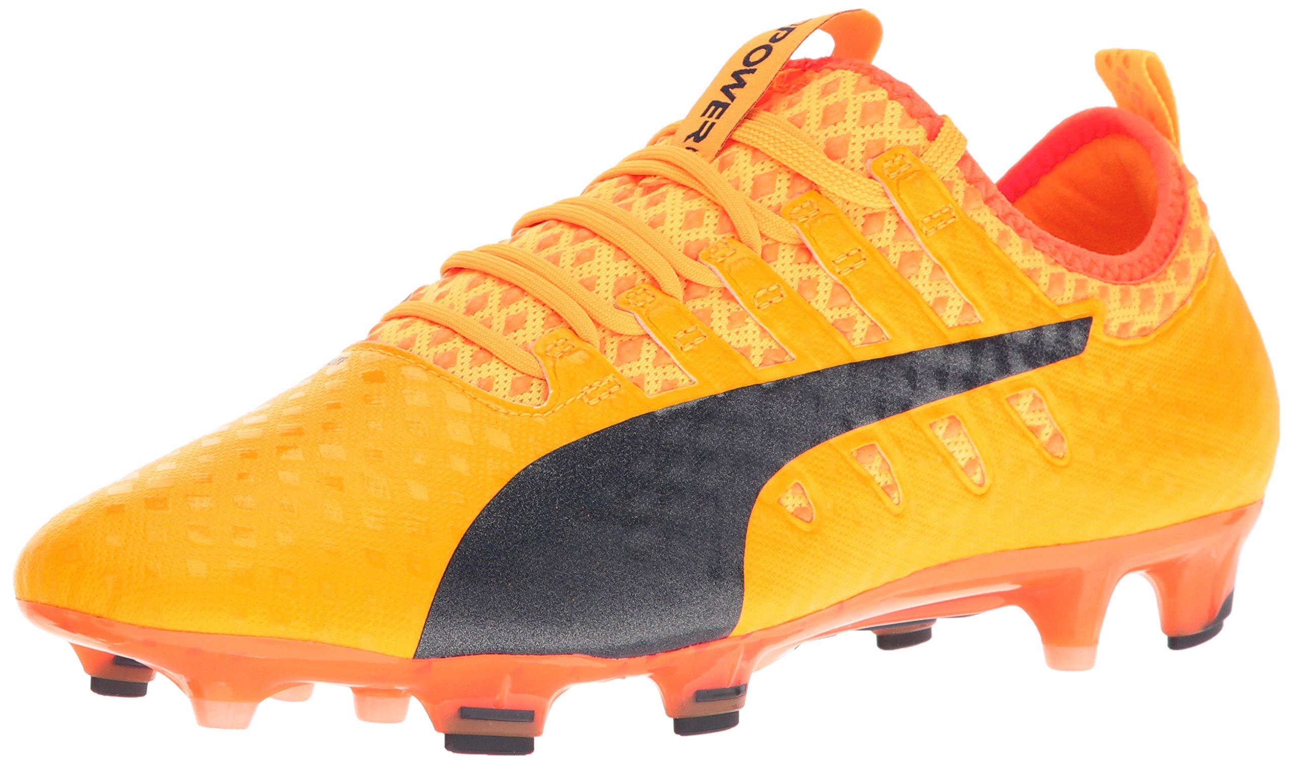 PUMA Men's Evopower Vigor 1 FG Soccer Shoe, Ultra Yellow-Peacoat-Orange Clown Fish, 12 M US