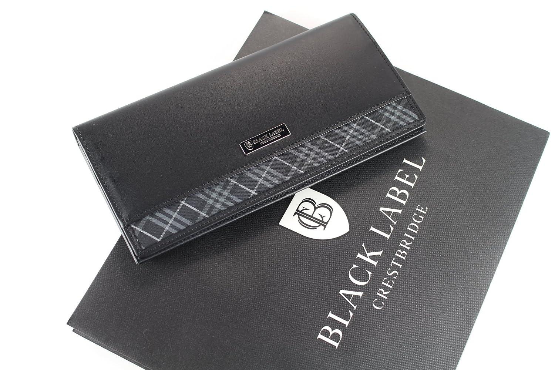 クレストブリッチ 財布 かぶせ長財布 メンズ 外チェック バーバリー ライセンス商品 ブラック burb003 B01411GNKO