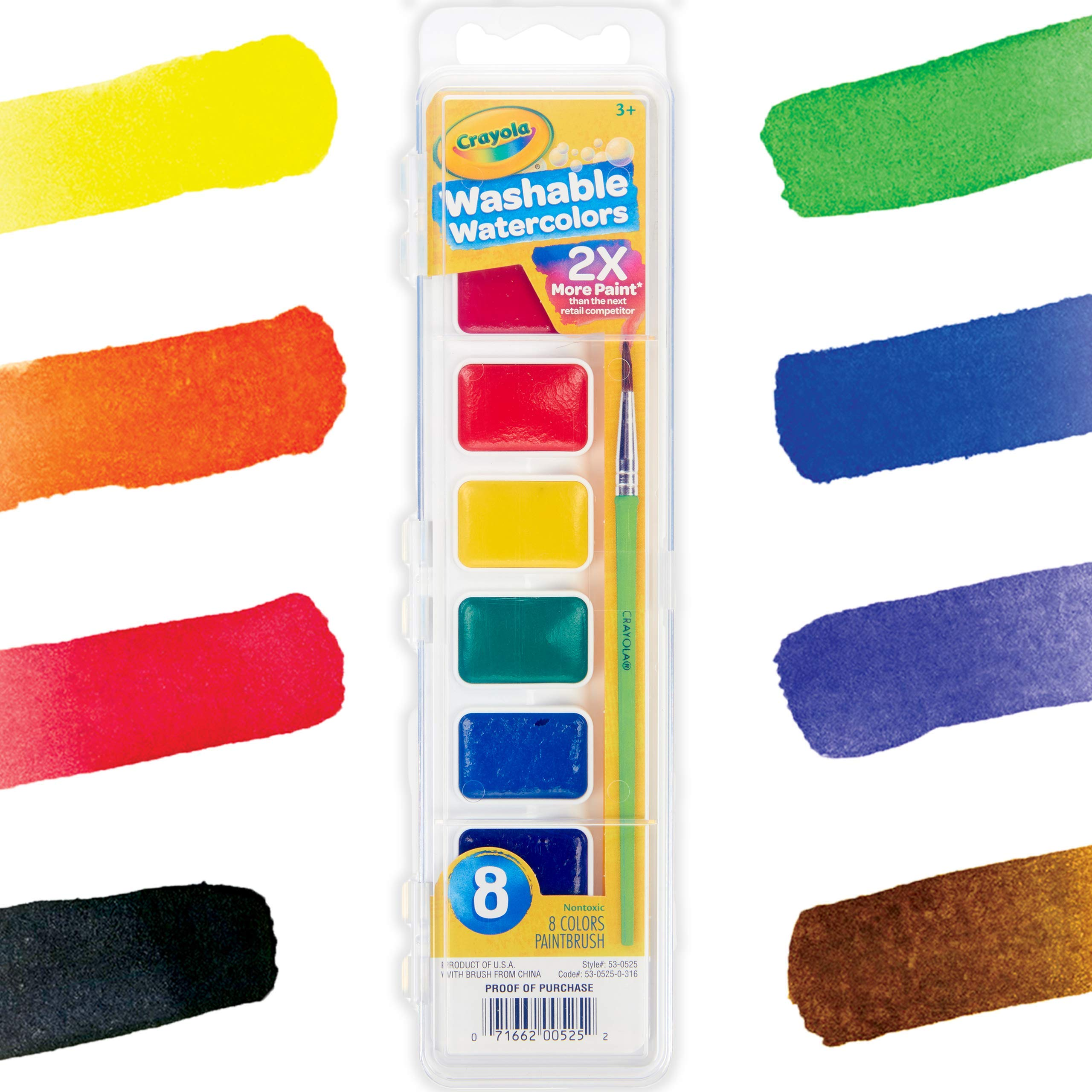 Crayola Washable Watercolors, Paint Set For Kids, 8Count, Assorted