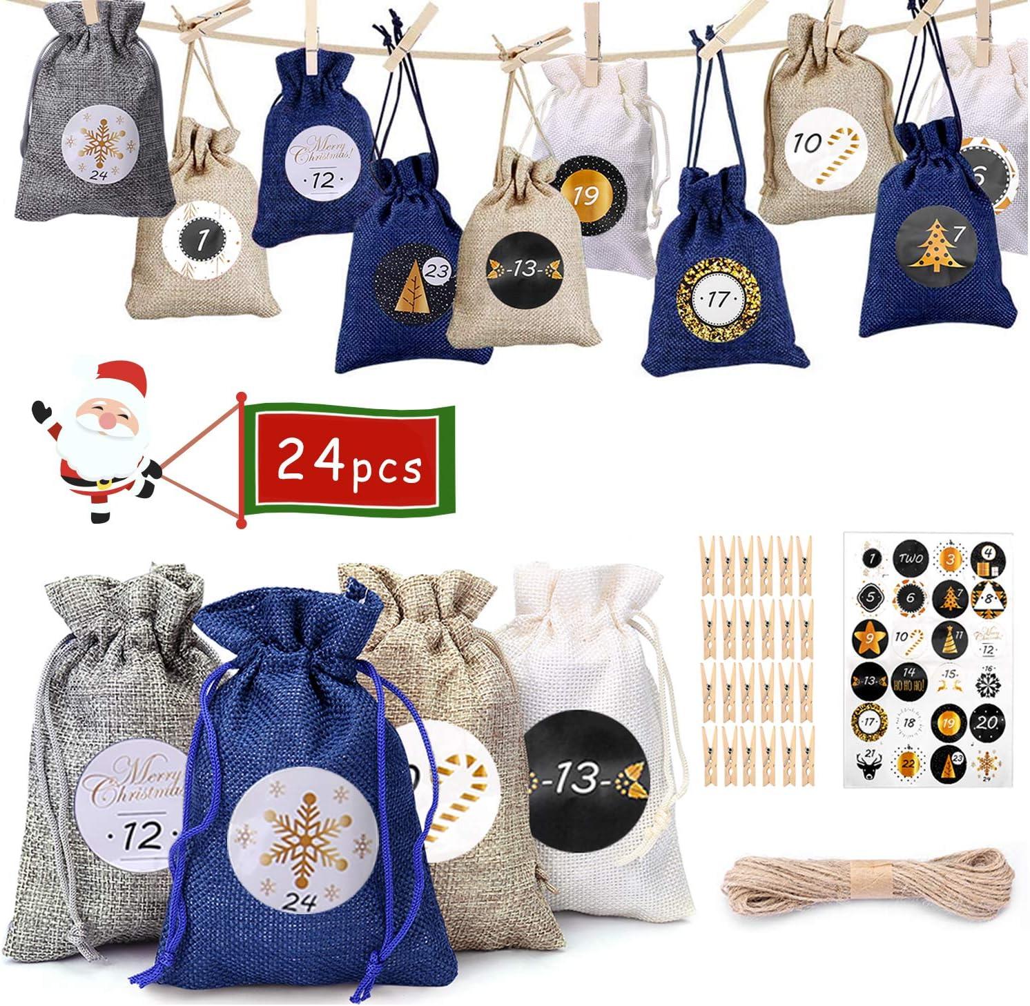NewPI Adventskalender Zum Befüllen Kinder, Weihnachtskalender Zum Befüllen, Adventskalender Säckchen, Geschenksäckchen, Zahlen-Aufklebern 24 Pcs. (Azul)