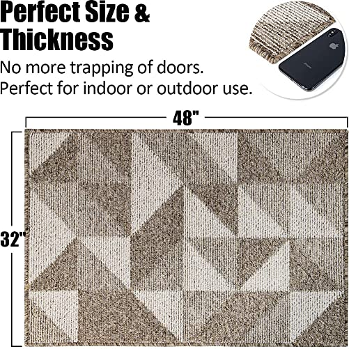 Indoor Doormat 32 x 48 , Absorbent Front Back Door Mat Floor Mats, Rubber Backing Non Slip Door Mats Inside Mud Dirt Trapper Entrance Front Door Rug Carpet, Machine Washable Low Profile-Brown Geome