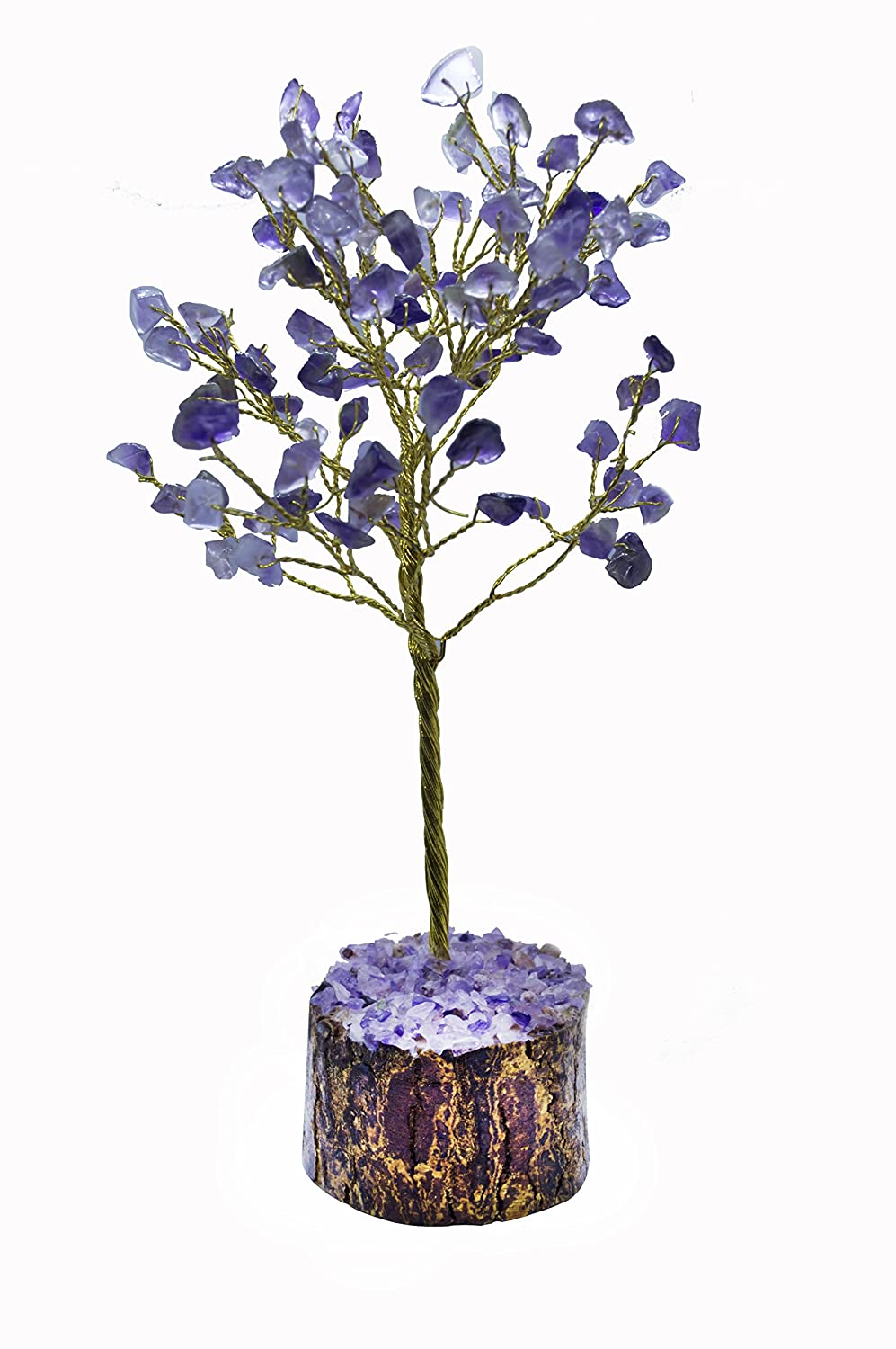 CROCON Amythest Natural Color Healing Gemstone Crystal Bonsai Fortune Money Tree for Good Luck, Wealth & Prosperity-Home Office Table Decor Spiritual Gift (With Golden Wire Branches) Size 7-8 Inches