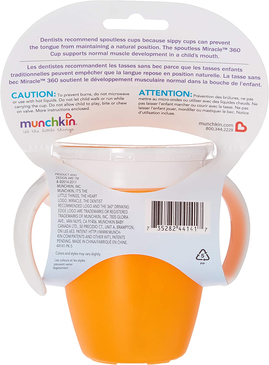 7 Ounce Pack of 2 Colors may Vary Munchkin Miracle Trainer Cup
