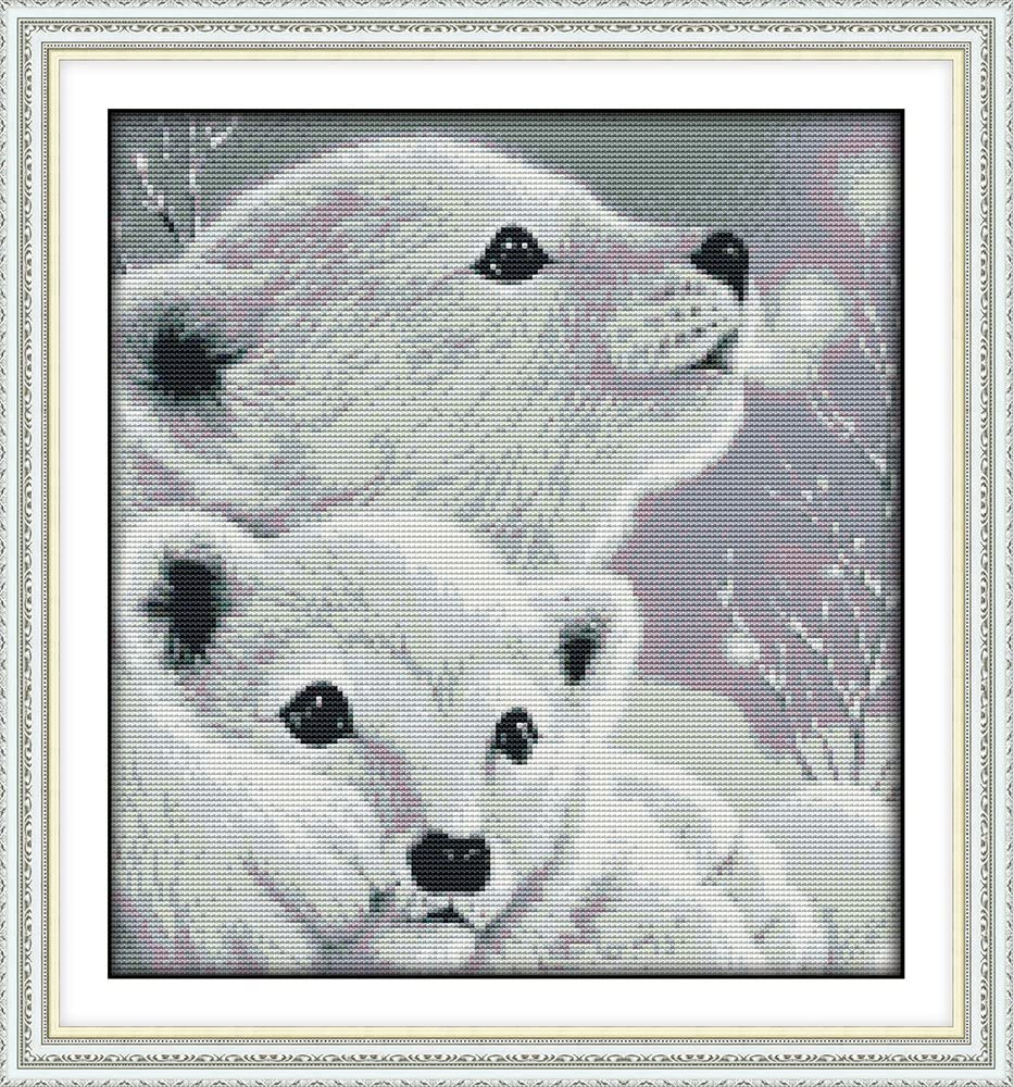 Stamped or Counted Bears, Counted Two Little Polar Bears Animals Awesocrafts Easy Patterns Cross Stitching Embroidery Kit Supplies Christmas Gifts Cross Stitch Kits