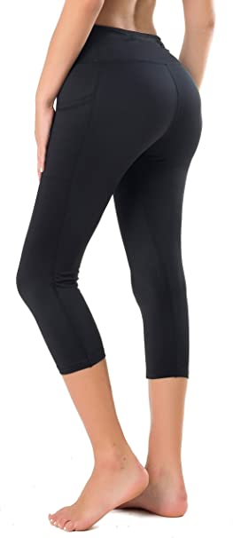 Flatik Women Workout Capri Yoga Running Capri Leggings with Pockets for Women