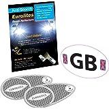 GB White Sticker + Headlight Beam Converters Deflectors