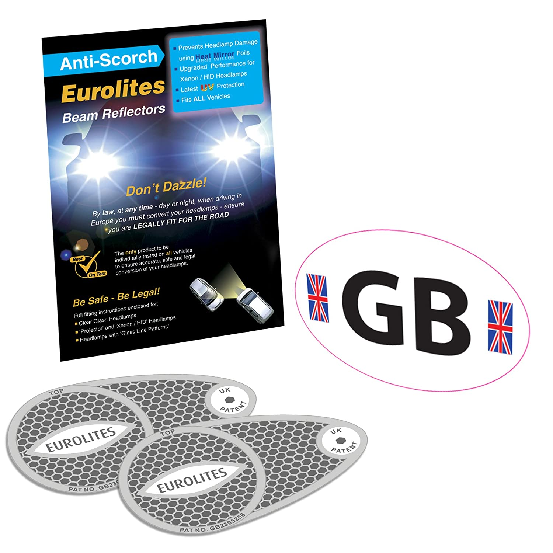 GB White Sticker + Headlight Beam Converters Deflectors Family Motoring & Leisure