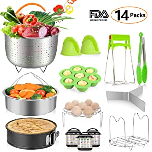 MIBOTE 14 Pcs Accessories Set Compatible with Instant Pot 5,6,8 Qt - Steamer Baskets, Springform Pan, Egg Steamer Rack, Egg Bites Mold, Dish Plate Clip, Kitchen Tong, Oven Mitts, Magnetic Cheat Sheets