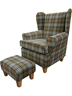Button Back Red Tartan Fabric Queen Anne design wing back fireside