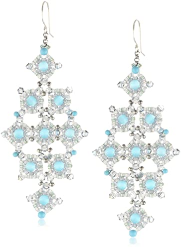 Miguel Ases Cat's Eye and Turquoise Diamond-Shape Drop Earrings