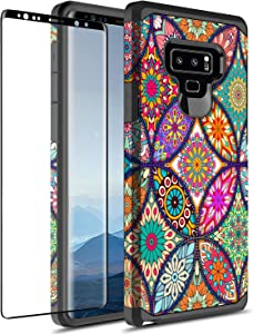 Samsung Galaxy Note 9 Case With 3D PET HD Screen Protector, Rosebono Slim Hybrid Dual Layer Graphic Fashion Colorful Cover Armor Case for Apple Samsung Galaxy Note 9 (Colorful Mandala)