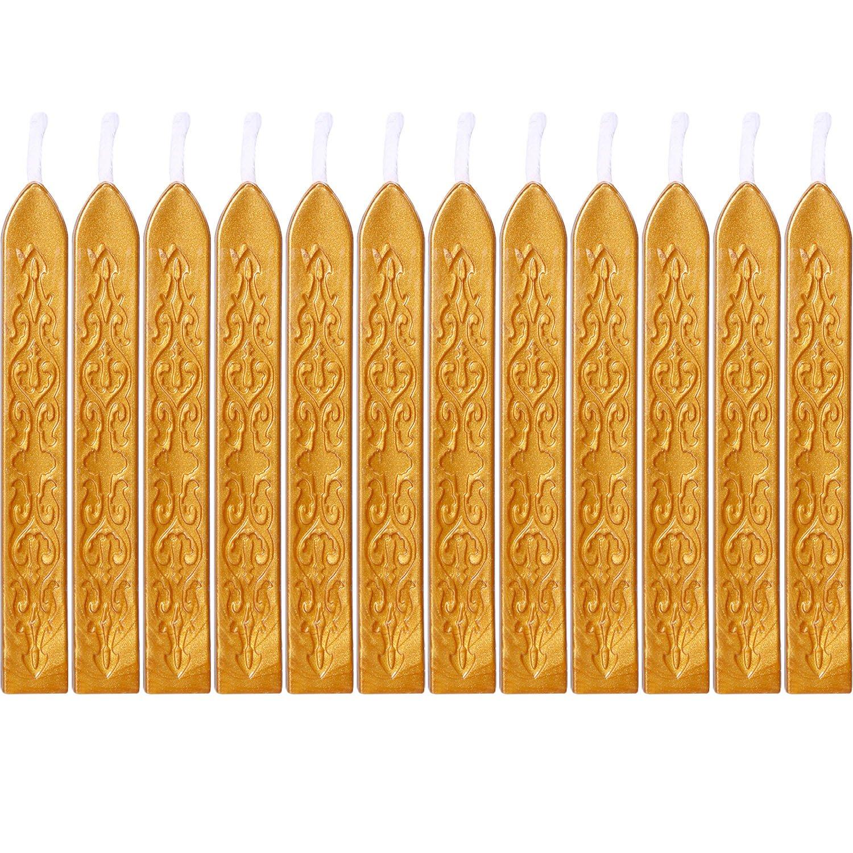 12 Pezzi Sigillatura dei Bastoncini di Cera con Stoppino Fuoco Antico Manoscritto Sigillante per Timbro Sigillo di Cera (Colori Argento) Bememo