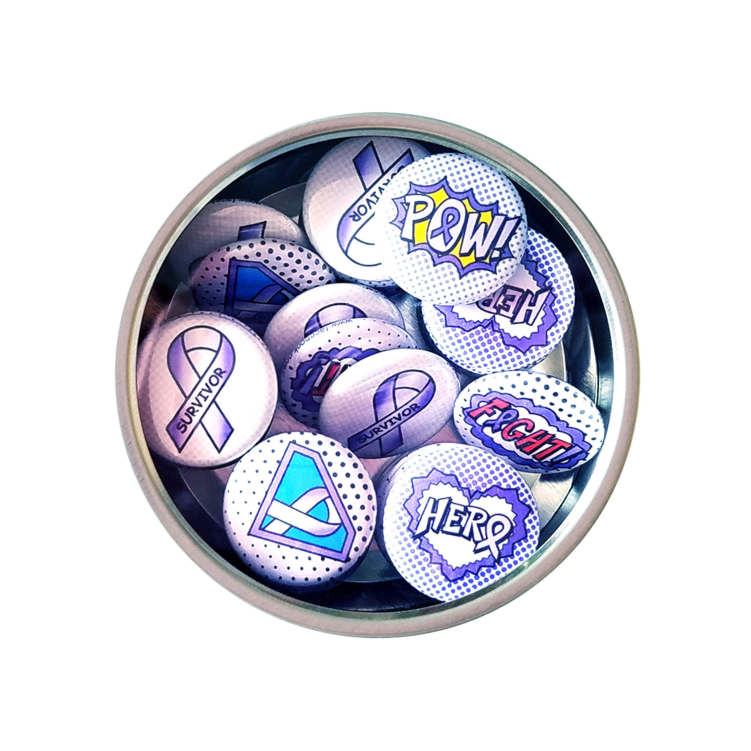 Superhero Awareness Pins - LAVENDER. All Cancer Awareness, Craniosynostosis, Epilepsy, Gynecological Cancer, Hypokalemic Periodic Paralysis, Infantile Spasms, Rett Syndrome. (1'' Pins, 30 Piece Set) by ILMS (Image #3)