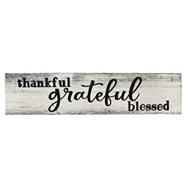 Top Brass Home Decor Large Thankful Grateful Blessed Inspirational Engraved Wood Wall Sign