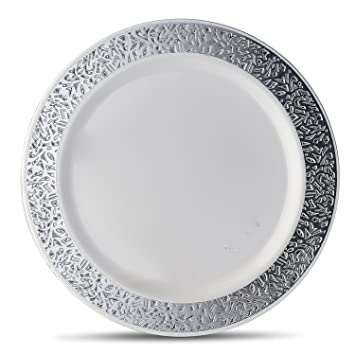 good living china like dinnerware 20pc premium heavyweight plastic plates white with silver lace
