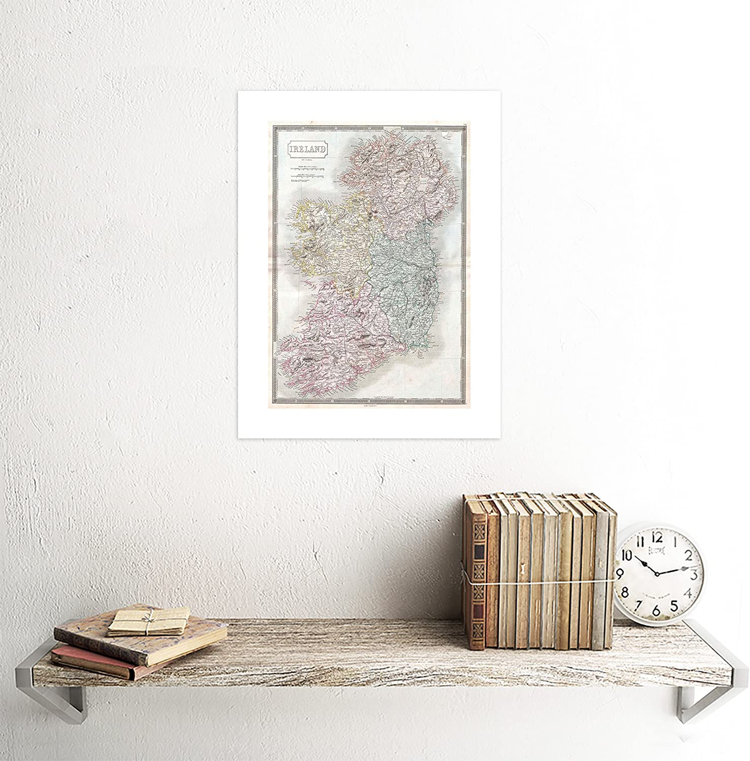 1850 Hall Map Ireland Print Frame Framed Picture Poster Mount Gift 12x16 Inch