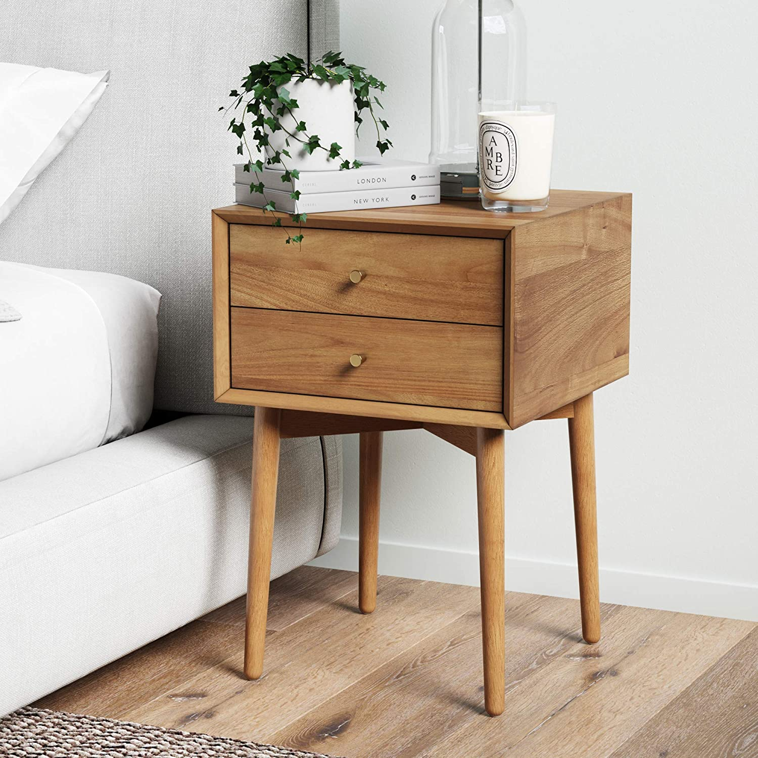 Nathan James 32704 Harper Mid-Century Oak Wood Nightstand with 2-Drawers, Small Side End Table with Storage, Brown