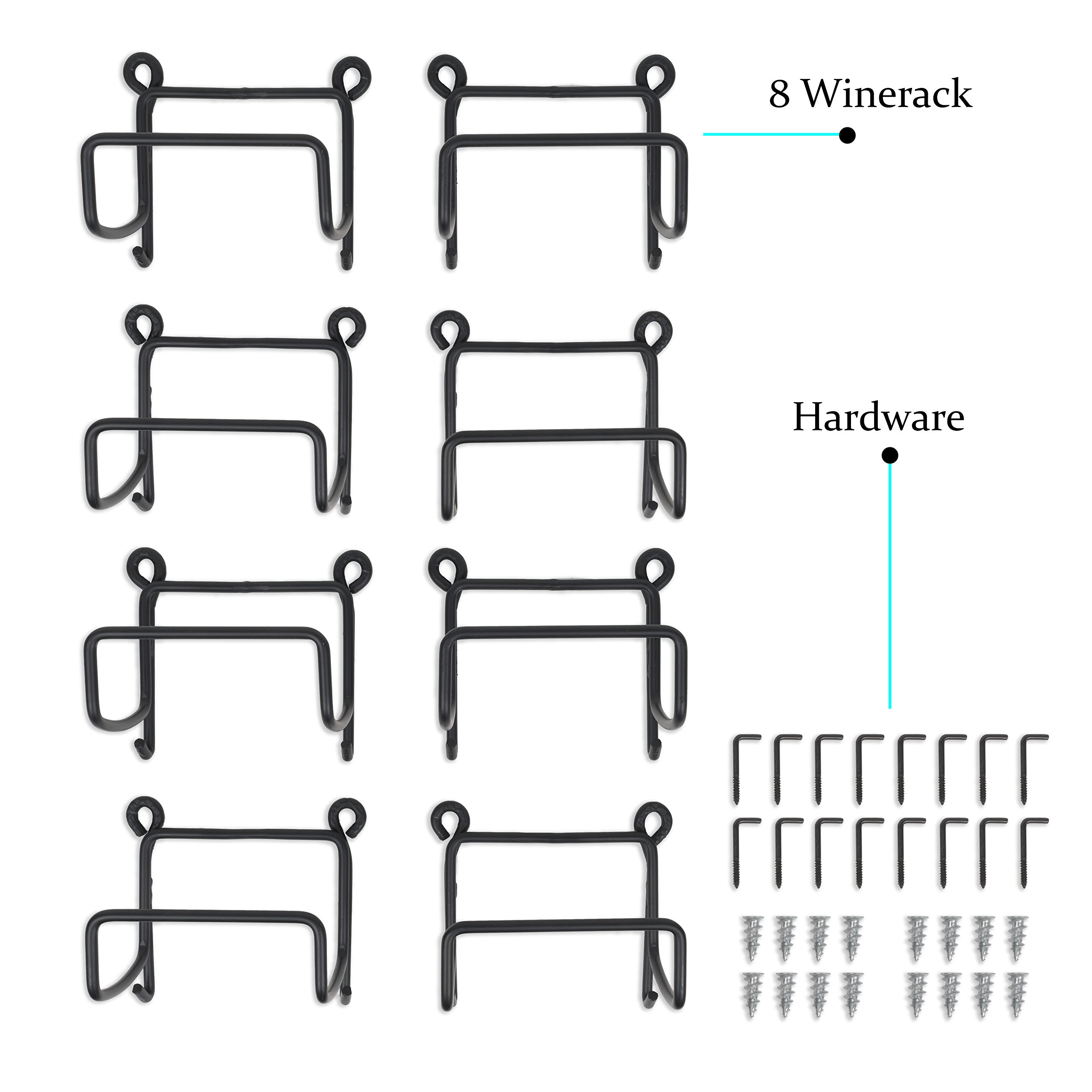 Wallniture Wrought Iron Wine Rack – Wall Mount Bottle Storage Organizer – Rustic Home Decor Black Set of 8 by Wallniture (Image #6)