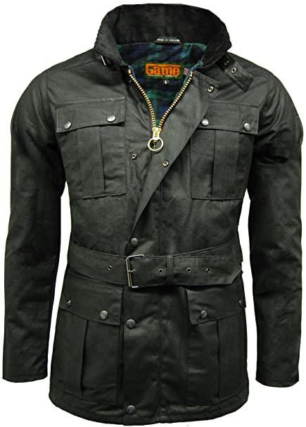 26fadc2f61 Mens Game Continental Belted Biker Wax Motorcycle Jacket  Amazon.co.uk   Clothing