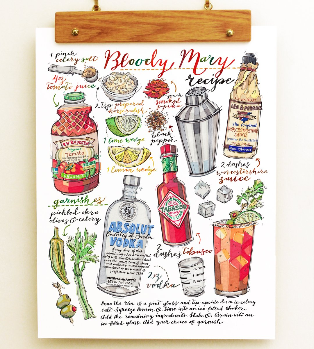 Bloody Mary Cocktail Print.