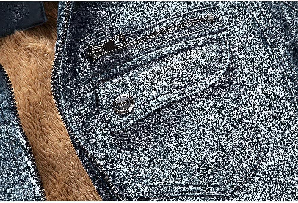 Giacca in Pelle da Uomo Winter Warmth Plus Giacca da Motociclista Completi alla Moda Vintage in Velluto Pu Colletto Allentato in Pelle Cappotto con Cerniera Cappotto Moda Uomo Blau