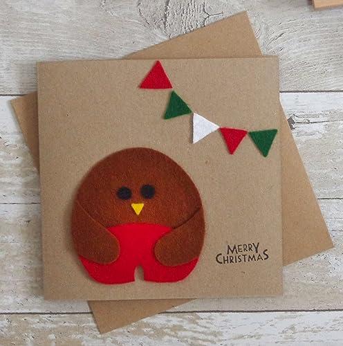 Christmas Greeting Cards Handmade.Robin Christmas Card Handmade Felt Xmas Card Kids