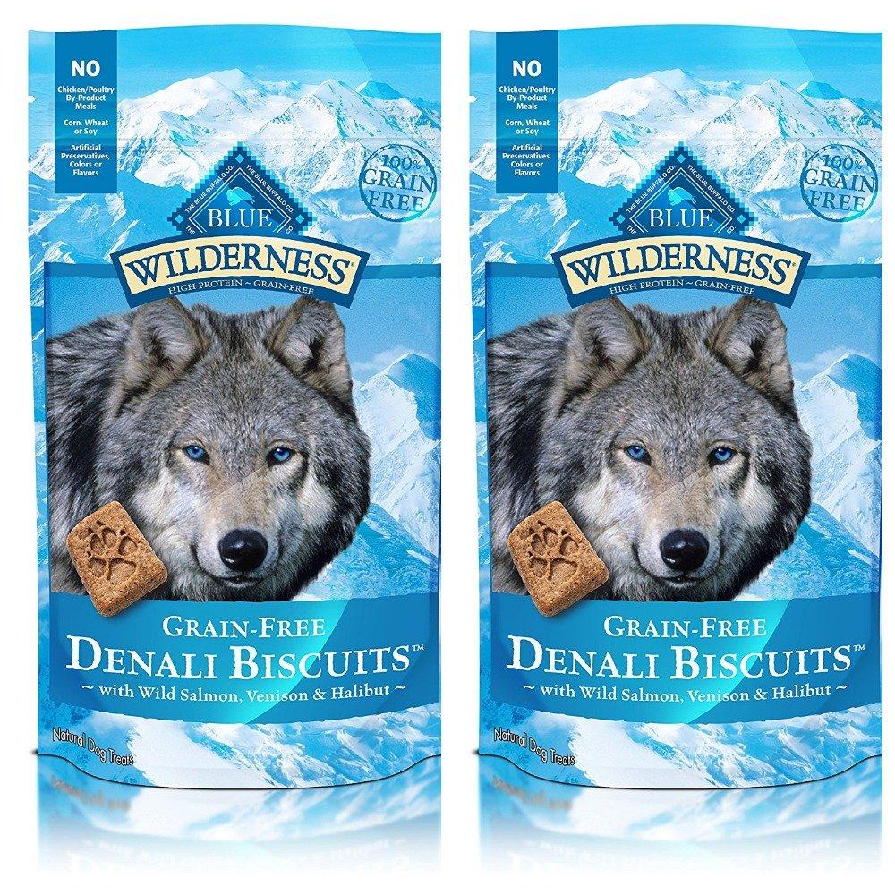 BLUE Wilderness Grain-Free Denali Biscuits with Wild Salmon, Venison, & Halibut Dog Treats 8-oz, 2 Pack
