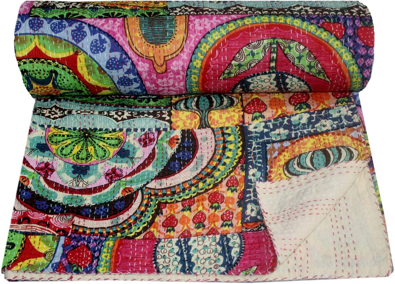 Bhawana Handicrafts Multi Colorful Kantha Quilt Queen Size Kantha Blanket Handmade Kantha Bedspread Indian Kantha Throw Traditional Kantha Bed Cover