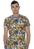 The Simpsons Multi Character Collage Adult Blue T-shirt Tee