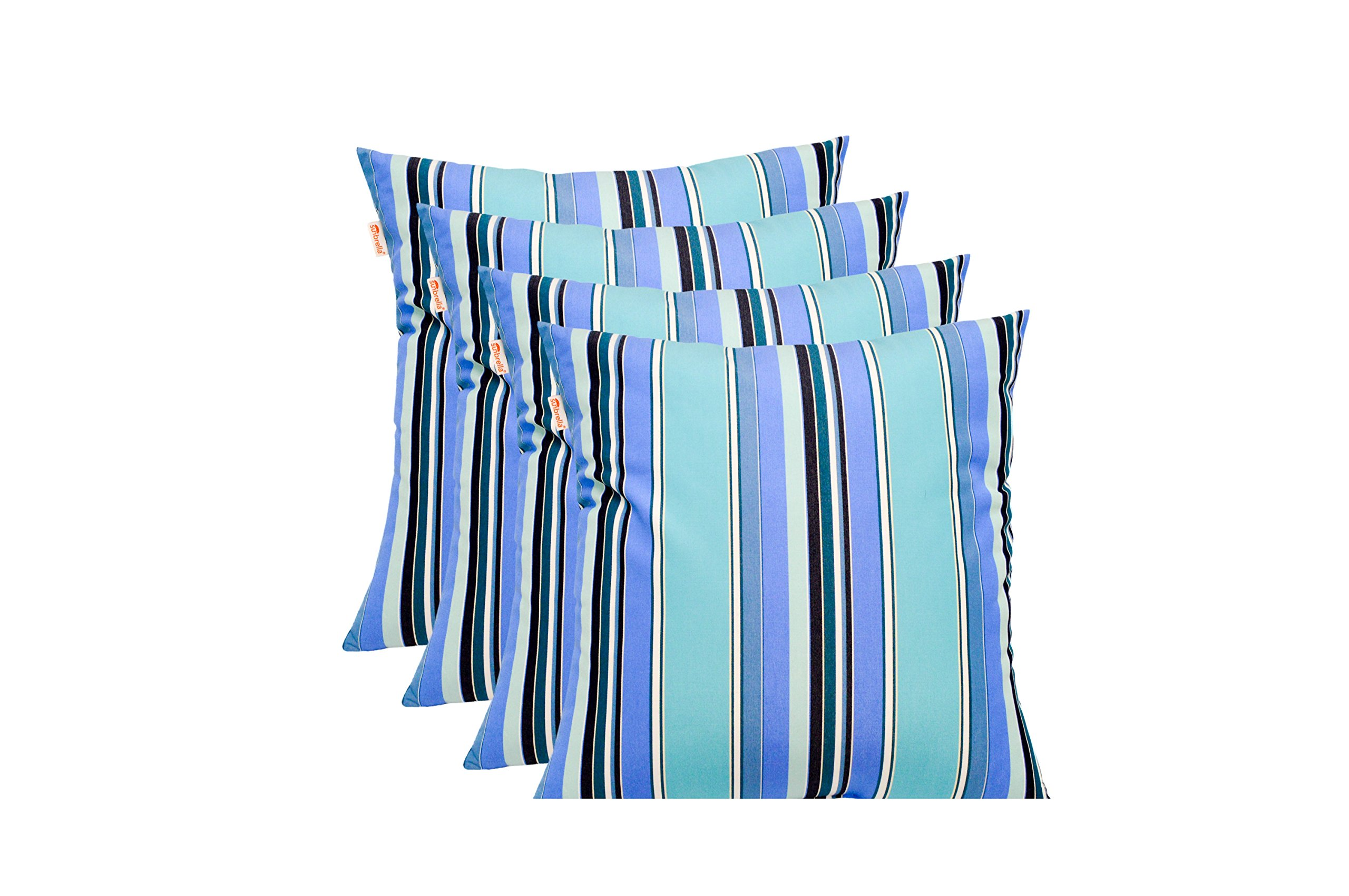 Resort Spa Home Decor Set of 4 - Sunbrella Dolce Oasis - Blue Teal Navy White Stripe - In/Outdoor Square Throw/Toss Pillows (20'' x 20'') 1101