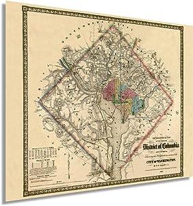Historix 1862 Washington DC Vintage Map - 24x30 Inch Historic Washington DC Map Showing Fortifications - Civil War Map of Washington DC Map Poster - Map Washington DC Wall Art (2 sizes)