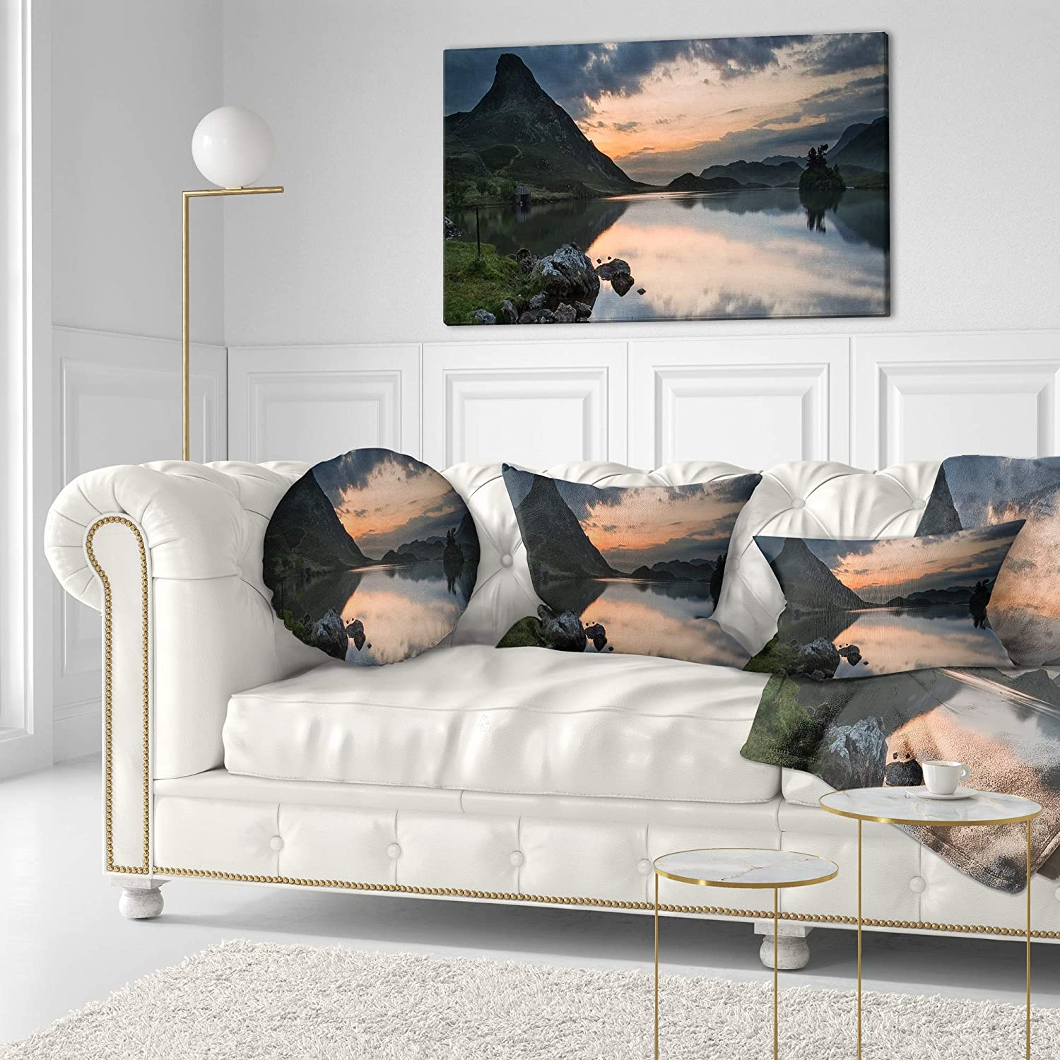 Sofa Designart CU14270-20-20-C Stunning Sunrise Over Lake Panorama Landscape Printed Throw Cushion Pillow Cover for Living Room 20 Round
