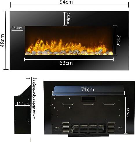 Dekokamin Elektroheizung Elektrischer Kamin,inkl Dimmer,Thermostat Glasfront JUNG Classicfire Elektrokamin mit Heizung LED Kaminofen Kaminfeuer mit Feuereffekt Fernbedienung Wandkamin mit 2000W